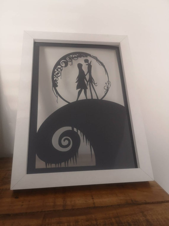 Nightmare Before Christmas inspired - Paper Cut in Floating Frame