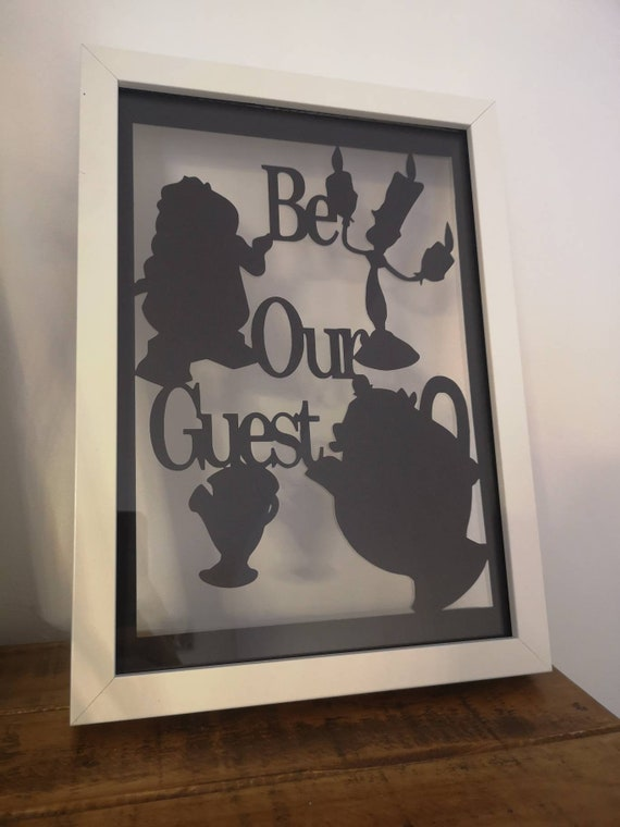 Be Our Guest! Beauty and the Beast Inspired  - Paper Cut in Floating Frame