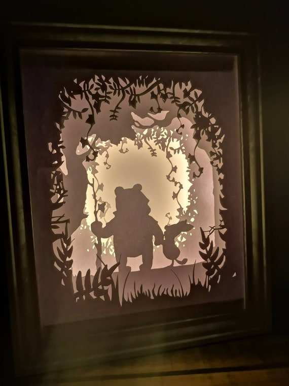 A friend is one of the nicest things you can have....Winnie the Pooh inspired Light up Shadow Box Lightbox Papercut Artwork