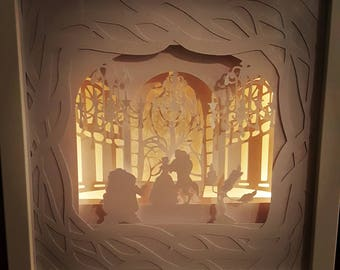 Tale as Old as Time....Beauty and the Beast inspired Light up Shadow Box