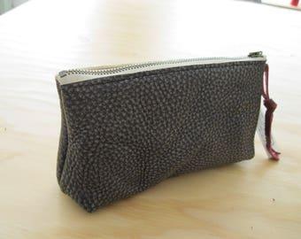 Metallic Leather Pouch - Gunmetal Leather Zipper Pouch with Metal Zipper, Boxed Bottom, and Leather Zipper Pull
