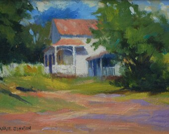 Landscape Oil Painting of Country House with Porch.  Original Impressionism Style Art by Frankie Johnson.  Peaceful Scene Art for Home Decor