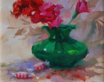 Oil Painting of Flowers in Vase and Peppermint Candy.  Red Carnations in Green Vase, Still Life Art. Small Painting Gift by Frankie Johnson.