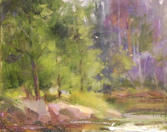 Original Landscape Oil Painting. River Rushing Through Forest Art.  Nature Impressionism Painting by Frankie Johnson.