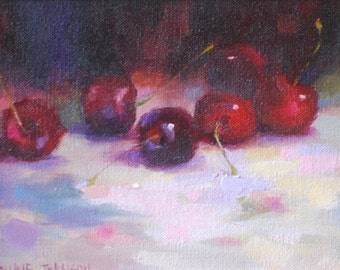 Oil Painting of Cherries.  Still Life Art Original Painting. Impressionism Style Painting. Small Fruit Painting by Frankie Johnson.