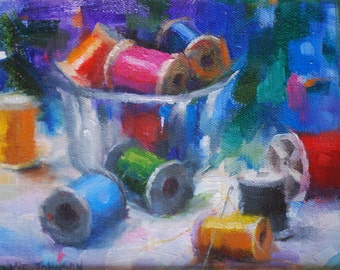 Art Oil Painting of Threads and Needles in Glass Bowl, Seamstress Tools Still Life  Original Painting. Small Artwork by Frankie Johnson.