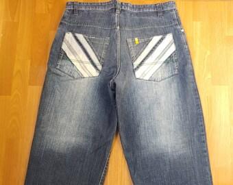 Southpole jeans, vintage baggy jeans, 90s hip-hop clothing, 1990s hip hop shirt, South Pole, OG, gangsta rap, size W 36