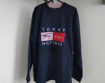 TOMMY HILFIGER sweatshirt vintage blue shirt, 90s hip-hop clothing, 1990s hip hop shirt, Tommy big logo rap, sewn big logo, size M Medium