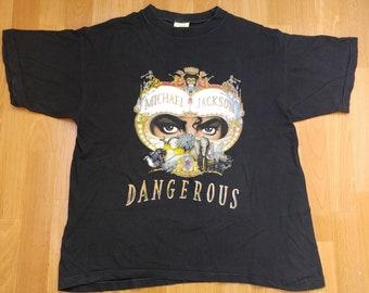 7d50bfa3 Vintage Michael Jackson t-shirt 1991 Dangerous shirt, concert tour, 1990s  Thriller, 90s pop rock, cotton, black, size size L Large