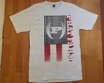 6e9ed2841 PHAT FARM t-shirt, white vintage 90s hip-hop clothing, 1990s hip hop shirt,  basketball, gangsta rap, og, old school streetwear, size L Large
