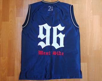4e82ab045 2Pac jersey, vintage Tupac t-shirt, Makaveli, 2pac shirt, 90s hip hop  clothing, gangsta rap, old school hip-hop tank, 1990s OG size M Medium