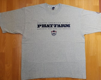 1acfccf7 Phat Farm t-shirt, gray vintage 90s hip-hop clothing, 1990s hip hop shirt,  basketball, rap, OG, old school streetwear, size XL Made in USA