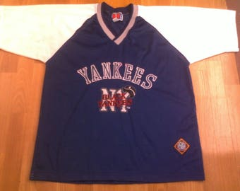 6be7c75e8 MLB New York Yankees jersey vintage baseball shirt 90s hip-hop clothing  1990s hip hop t-shirt og gangsta rap size L Large