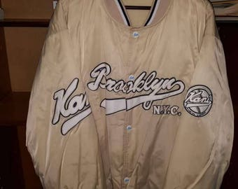 Karl Kani jacket, vintage beige hip hop jacket 2pac Brooklyn 90s hip-hop clothing, 1990s hip hop college jacket, OG gangsta rap size XXL 2XL