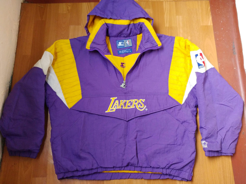 super popular 72b4c 6ad4f NBA Los Angeles Lakers jacket vintage STARTER 1 2 half zip   Etsy