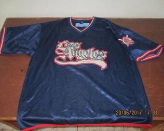 Vintage Los Angeles jersey, blue lowrider t-shirt of 90s hip-hop clothing, 1990s hip hop, OG, gangsta rap, fubu rap size XL