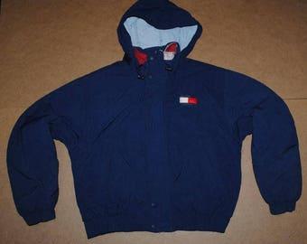 Tommy Hilfiger jacket, blue vintage Tommy jacket of 90s hip-hop clothing, 1990s hip hop sailor college jacket, OG, gangsta rap, size S Small