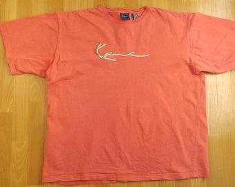 KARL KANI t-shirt, vintage shirt 90s hip-hop clothing, 1990s hip hop, gangsta rap, streetwear, orange cotton, sewn, old school, size XXL 2XL