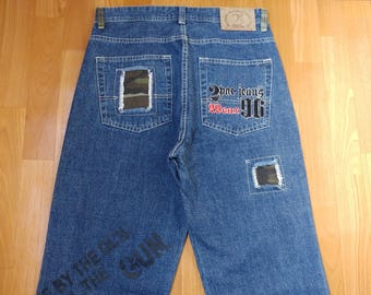 2pac jeans, Tupac Makaveli pants, blue jeans, vintage baggy jeans, 90s hip hop clothing, 1990s gangsta rap, size W 32