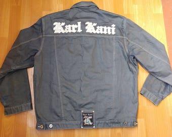 KARL KANI jeans jacket, vintage Kani jacket,  shiny denim jacket, old school 90s hip-hop clothing, 1990s hip hop, gangsta rap, size L Large