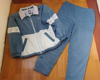 Vintage Lotto tracksuit, old school 1990s blue track suit jacket pants, of 90s hip hop clothing, basketball suit, size XL
