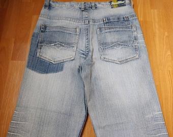 Raw Blue jeans, vintage baggy jeans, 90s hip-hop clothing, 1990s hip hop shirt, OG, old school, gangsta rap, size W 34