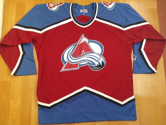 brand new fae6d d28a1 Starter NHL Colorado Avalanche jersey, vintage hockey t-shirt, 90s hip-hop  clothing, 1990s hip hop shirt, gangsta rap shirt, size L Large