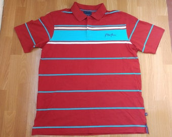 PHAT FARM jersey, vintage red polo shirt, 90s hip-hop clothing, 1990s hip hop shirt, og, gangsta rap, size L Large