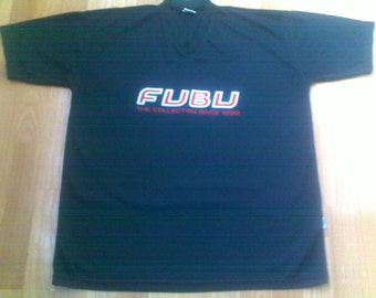 FUBU jersey, vintage t-shirt black Fubu shirt of 90s hip-hop clothing, sewn, 1990s hip hop, OG, gangsta rap, size L Large, RARE!
