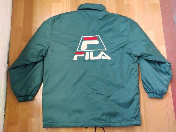 FILA jacket, vintage polyester windbreaker jacket of 90s hip-hop clothing,  old school 1990s hip hop, green parka, rap, size L Large