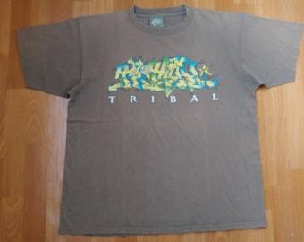 TRIBAL Gear shirt, gray vintage hip hop t-shirt, 90s hip-hop clothing, gangsta rap, lowrider, la, Los Angeles, chicano, size XL Made in USA