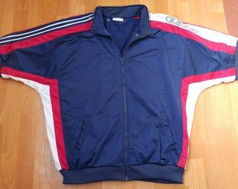 ADIDAS jersey, vintage buttoned hip hop t-shirt of 90s hip-hop clothing, 1990s gangsta rap, lowrider, run dmc size XXL 2XL (D10)