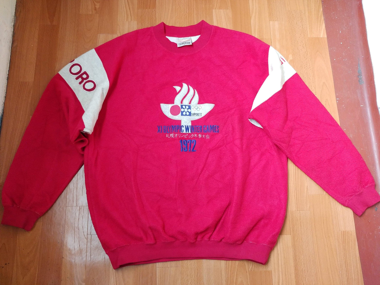 Adidas 1972 Sapporo Winter Olympics Sweatshirt, Vintage XI Olympic Winter Games Japan Jacket, 80s old school hip hop clothing, men's size XL