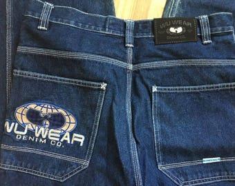 WU WEAR jeans, vintage hip hop baggy loose jeans, 90s hip-hop clothing, Wu Tang Clan hiphop gangsta rap, kani, jnco, OG, size W 32