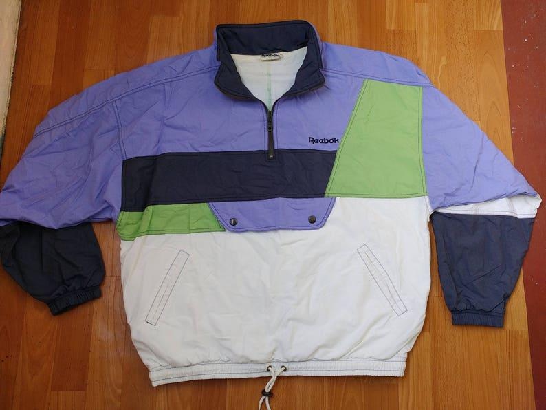 fda6b2df20a3d Reebok jacket, vintage blue RBK track, 90s hip hop clothing, old school  1990s gangsta rap, hip-hop tracksuit jacket, size XL