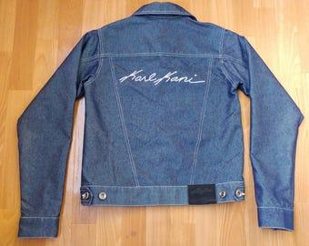 Womens KARL KANI jacket, vintage ladies denim jacket, old school 90s hip-hop clothing, 1990s hip hop shirt, gangsta rap, size S Small