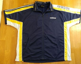 ADIDAS jersey, vintage buttoned hip hop t-shirt of 90s hip-hop clothing, 1990s gangsta rap, lowrider, run dmc size L Large (D6)
