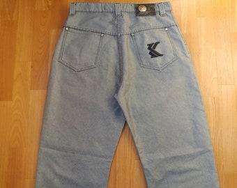 KARL KANI jeans, vintage baggy Kani jeans loose shiny gray metallic 90s hip-hop clothing, oldschool 1990s hip hop OG, gangsta rap, size W 32