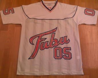 FUBU jersey, white vintage hip hop t-shirt of 90s hip-hop clothing, 1990s hip hop shirt, OG, gangsta rap, size L Large