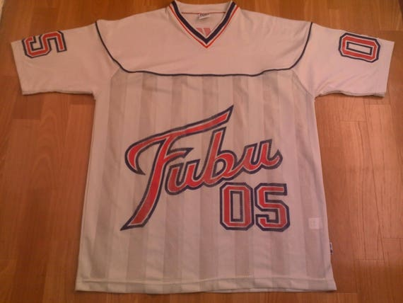 FUBU jersey, white vintage hip hop t-shirt of 90s