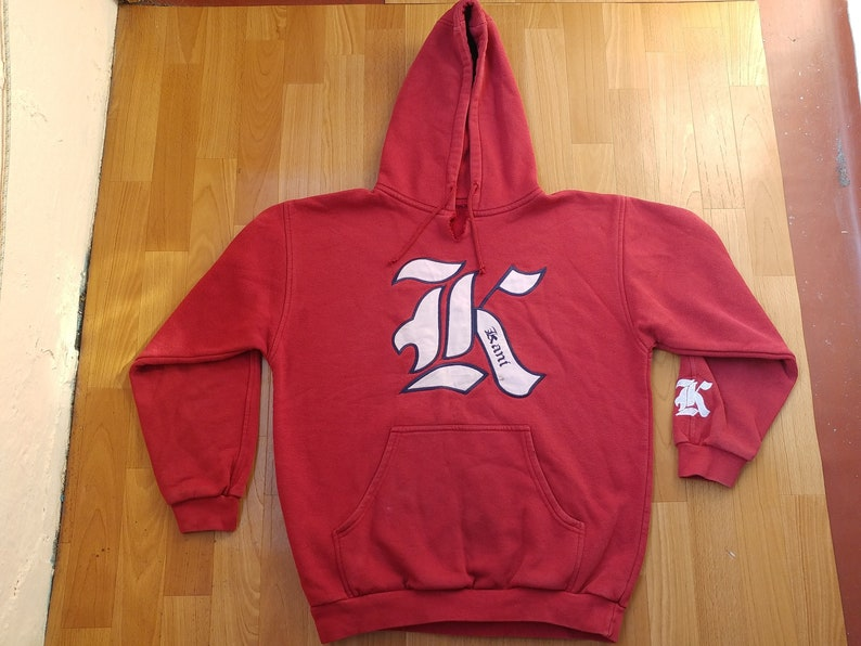 KARL KANI hoodie, vintage hip hop sweatshirt of 90s hip-hop clothing, 1990s  shirt, streetwear gangsta rap old school red shirt size M Medium