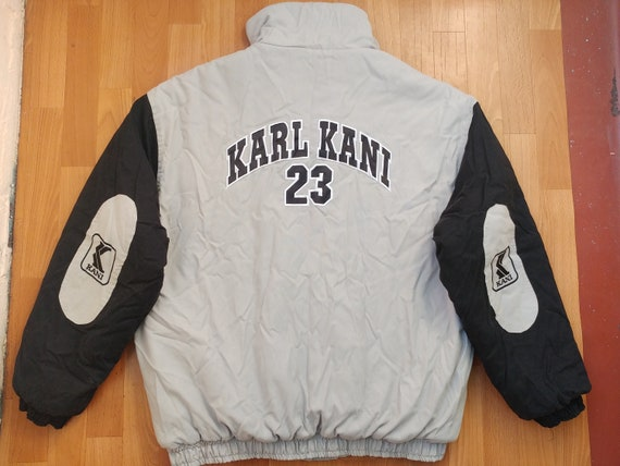 KARL KANI jacket, gray vintage Kani windbreaker, 90s hip-hop clothing,  1990s hip hop rap old school streetwear, embroidered quilted size XL