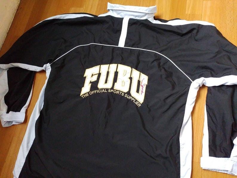 FUBU jacket black color old school gangsta rap mens size XL streetwear 90s hip-hop clothing 1990s hip-hop vintage Fubu windbreaker