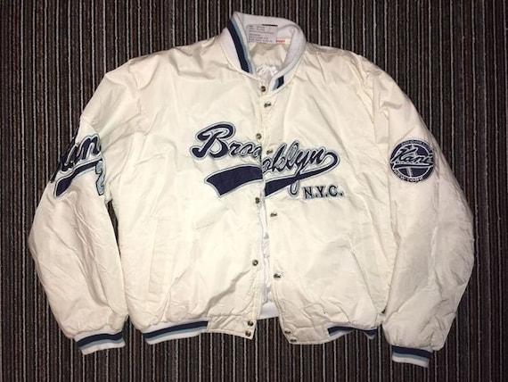 Karl Kani jacket, white Brooklyn bomber, vintage h