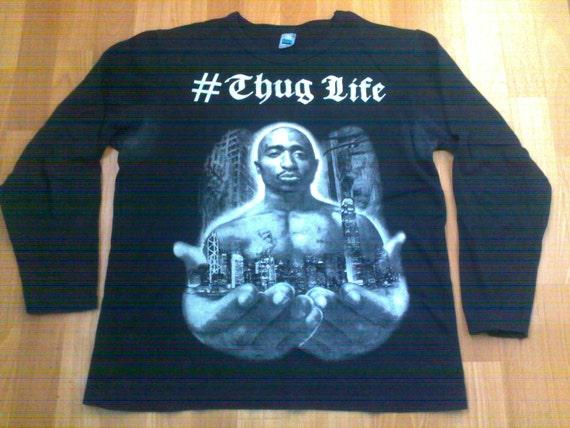 2pac shirt, Tupac t-shirt Makaveli longsleeve shirt, vintage gangsta rap, old school hip-hop 90s OG, size L