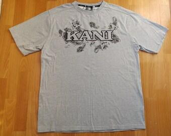 KARL KANI t-shirt, vintage shirt of 90s hip-hop clothing, 1990s hip hop, gangsta rap, streetwear gray cotton, sewn, old school, size L Large