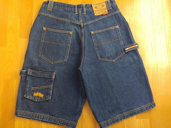 baggy denim shorts gangsta rap vintage Made in USA 90s hip-hop clothing 1990s hip hop og jnco KIK WEAR jeans shorts blue size W 32