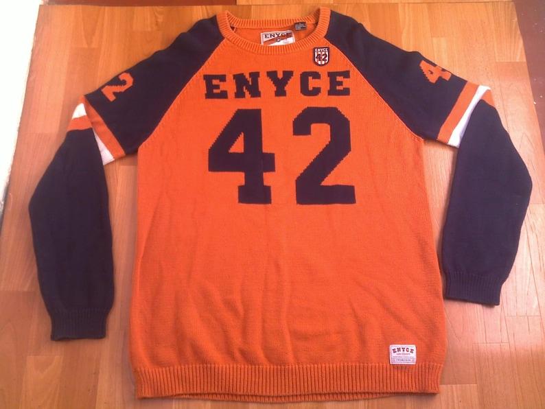Enyce sweatshirt, orange sweater shirt of vintage 90s hip-hop clothing,  1990s hip hop shirt, sewn, OG, gangsta rap, size L Large