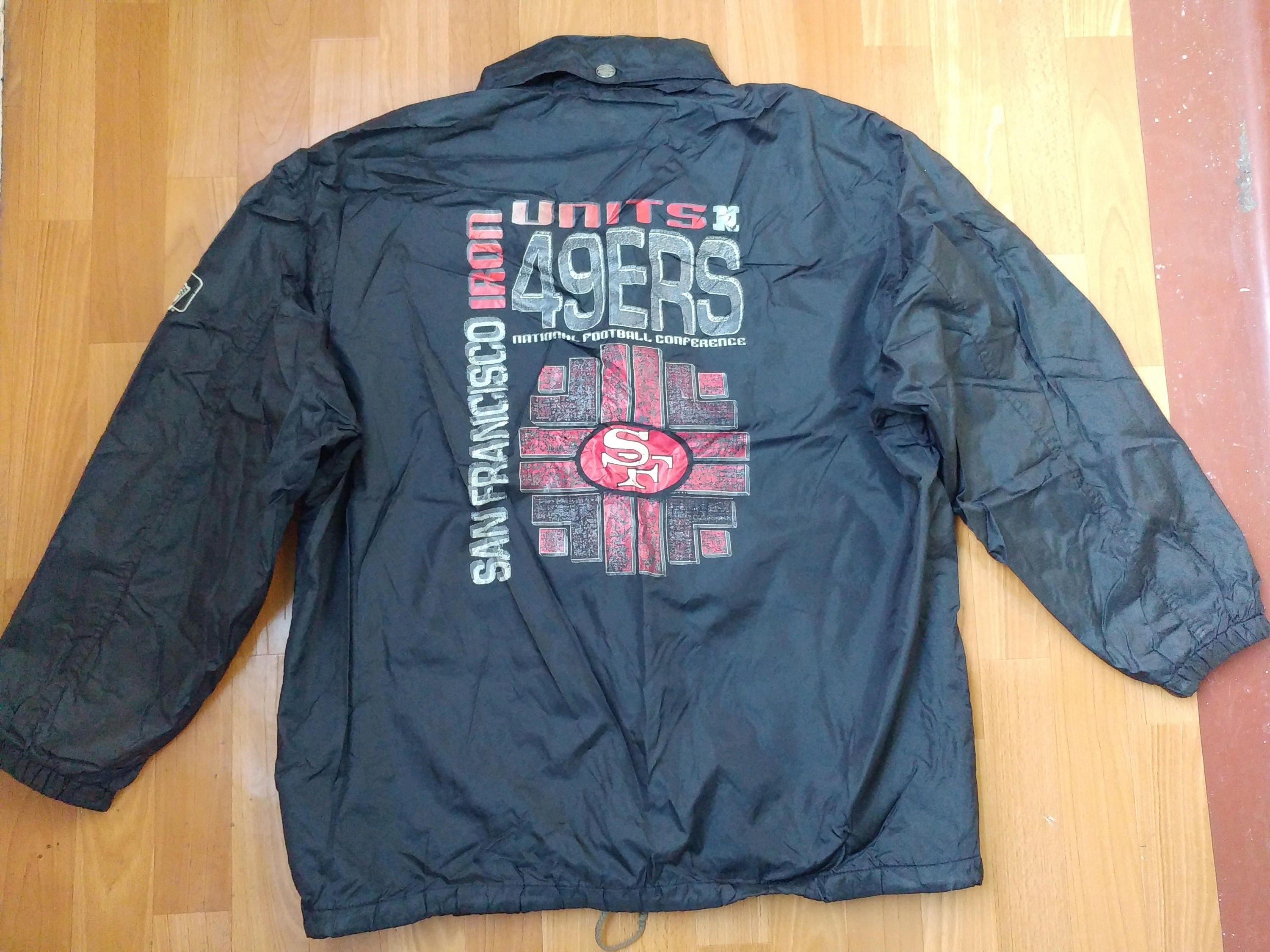 save off 442d0 e71d3 NFL San Francisco 49ers jacket, buttoned Campri Teamline football  windbreaker coat, 90s hip-hop clothing 1990s nylon pullover, size L Large
