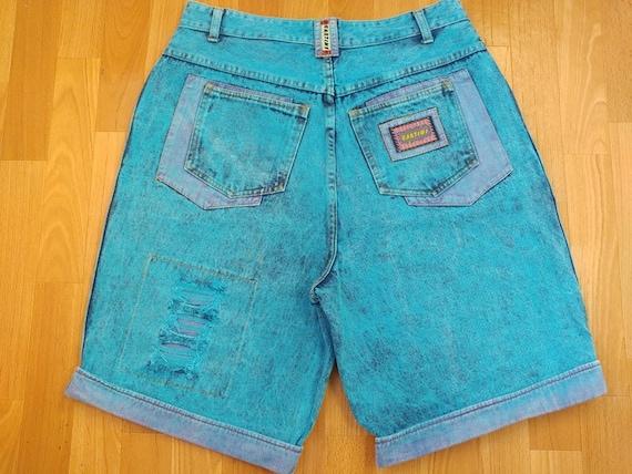 Cartini jeans shorts, neon blue acid wash vintage